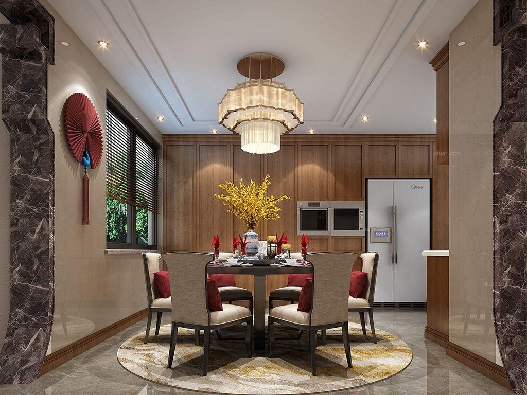 别墅欧式风格餐厅开放式厨房