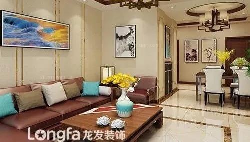 三居室新中式客厅沙发背景墙