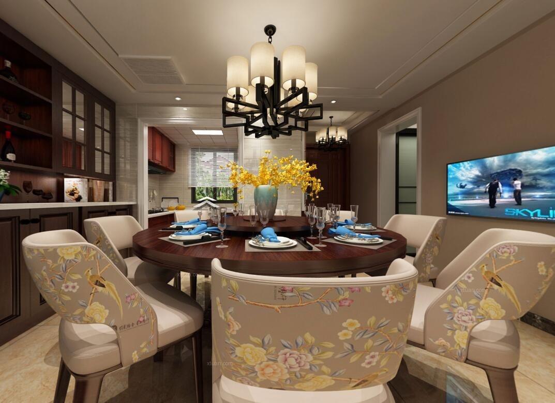 联排别墅中式风格客厅沙发背景墙