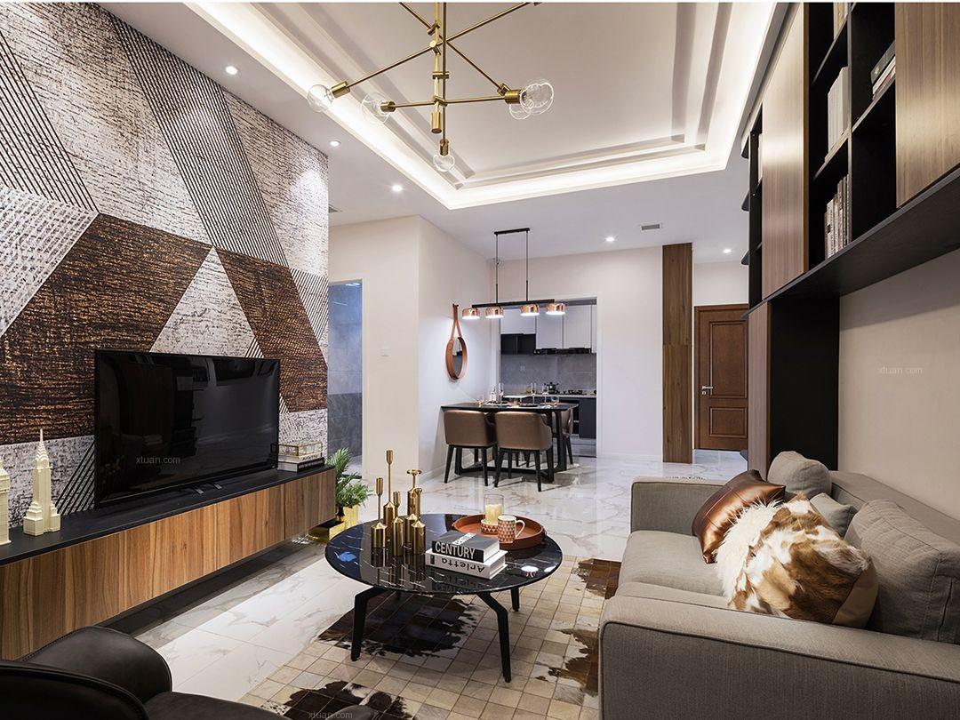 三居室都市风格客厅电视背景墙