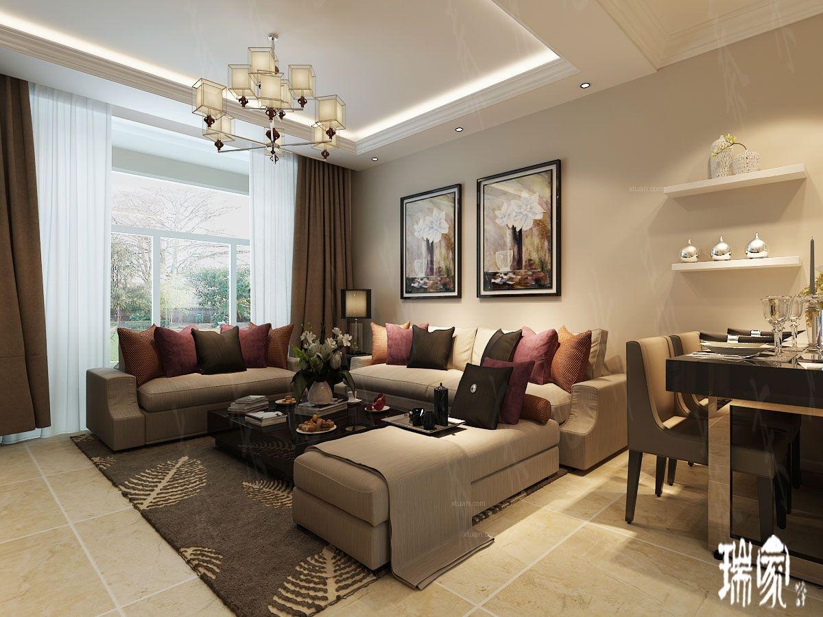 两室两厅简约风格客厅沙发背景墙