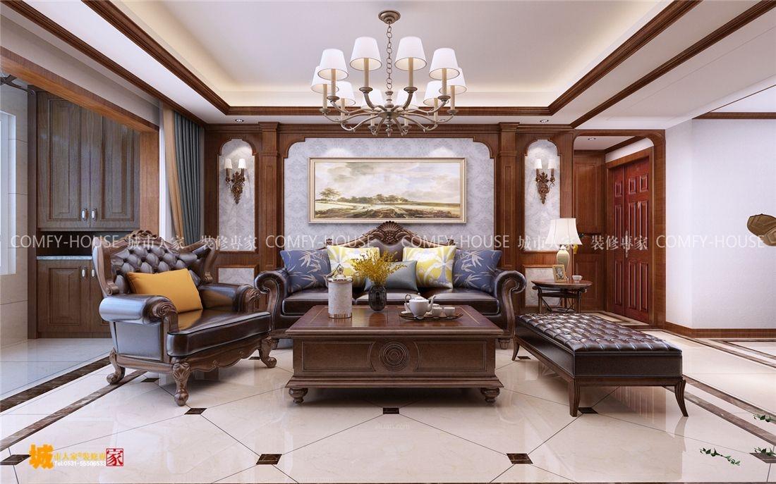 三居室美式風格客廳沙發背景墻_魯能公館經典美式風格