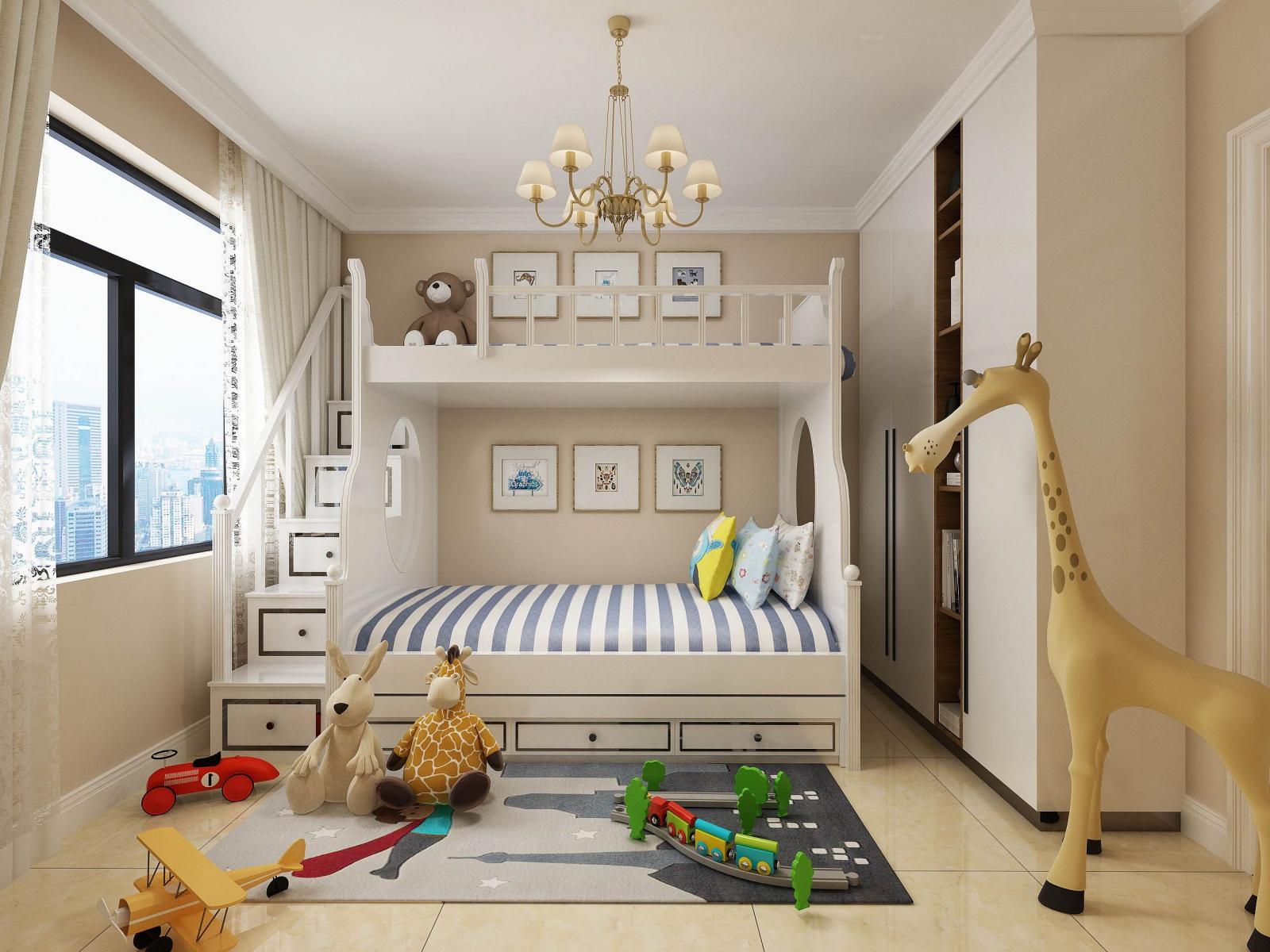 三居室现代简约儿童房沙发背景墙