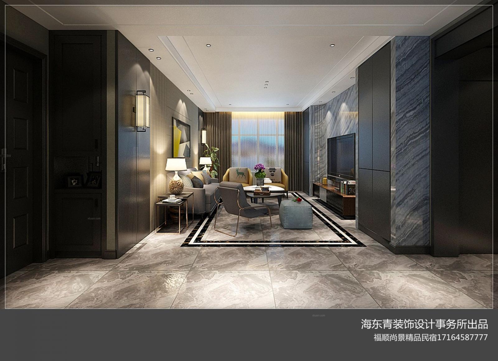 两居室现代简约客厅电视背景墙