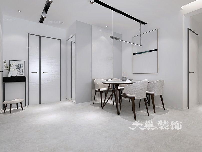 鄭州美巢綠都紫荊華庭119平三室兩廳設計現代黑白灰裝修效果圖
