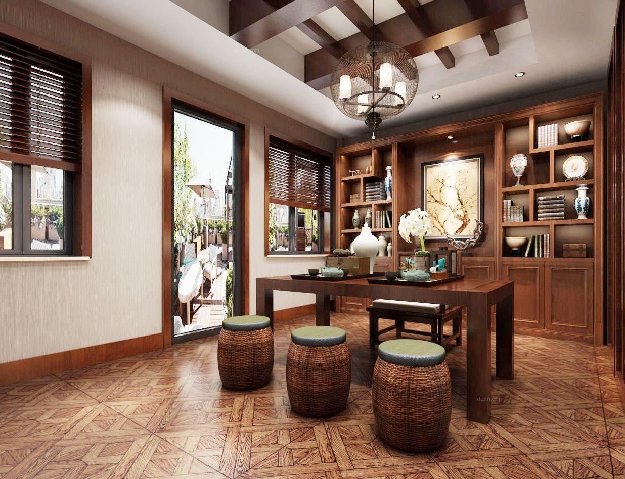 汤臣湖庭花园别墅装修中式风格设计