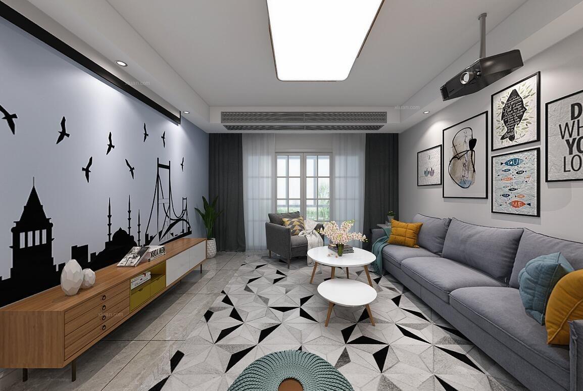 三居室现代简约客厅电视背景墙