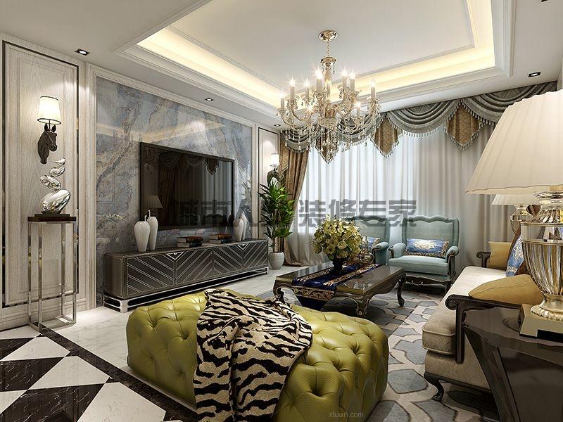 三居室欧式风格客厅电视背景墙