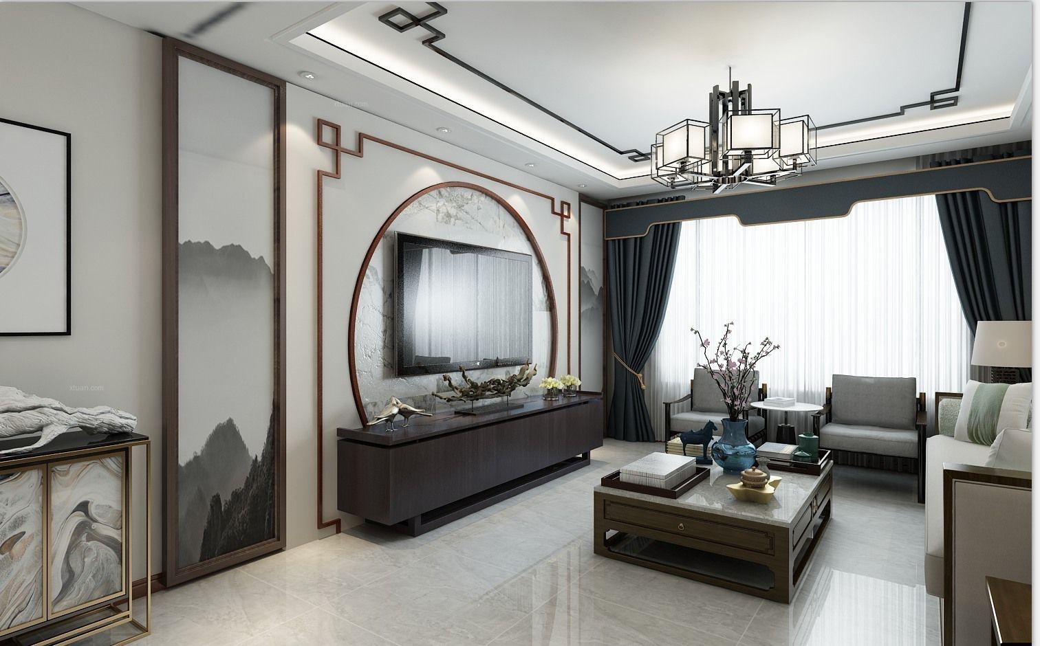 水墨之美新中式-哈尔滨鸣雀装饰
