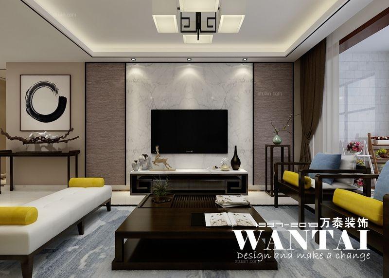 泰安万泰装饰 大展鸿府128m²新中式装修效果图—高新