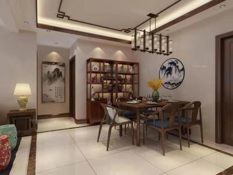 三室两厅新中式客厅