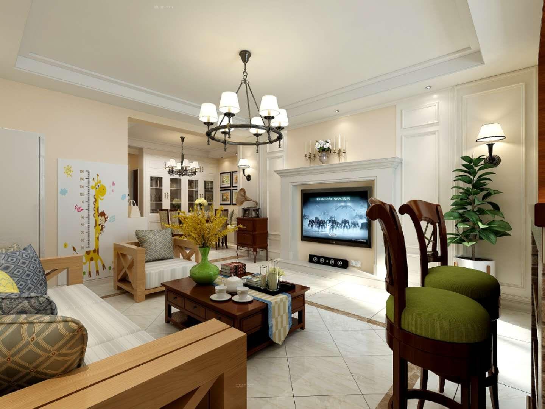 兰州九鼎装饰|白银银珠家园三室两厅美式风格装修