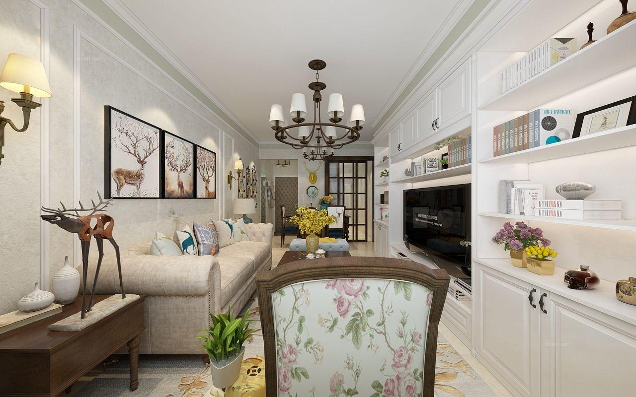 57平米两室简美风格-哈尔滨鸣雀装饰