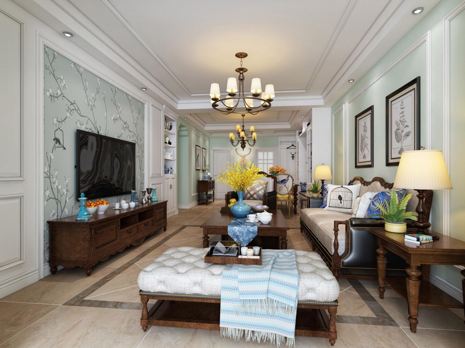 别墅美式风格客厅家庭影院