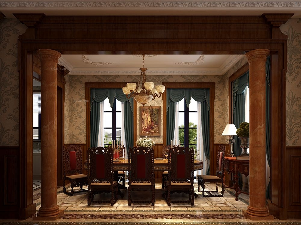 独栋别墅美式风格餐厅