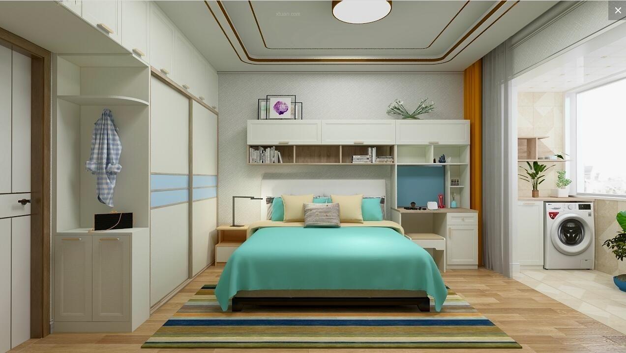 三居室北欧风格卧室_九安公馆装修效果图