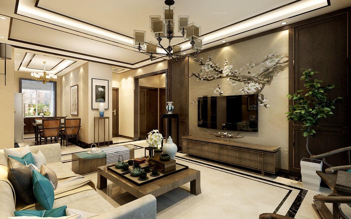 三居室都市风格客厅