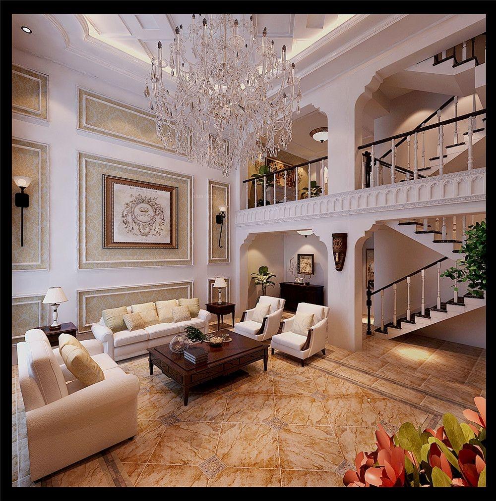 别墅欧式风格客厅圆形吊顶
