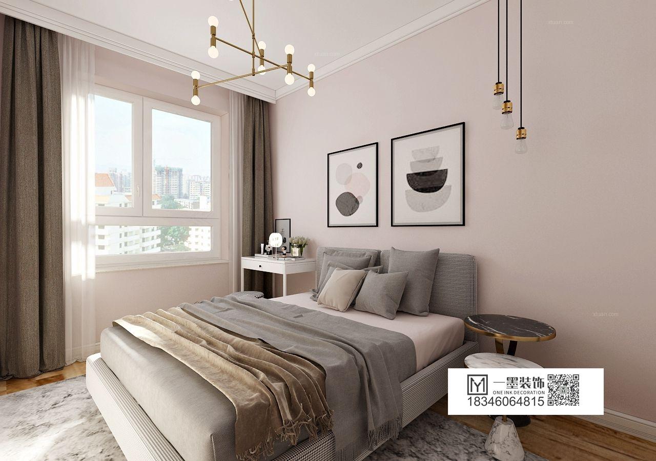 一居室北欧风格卧室卧室背景墙