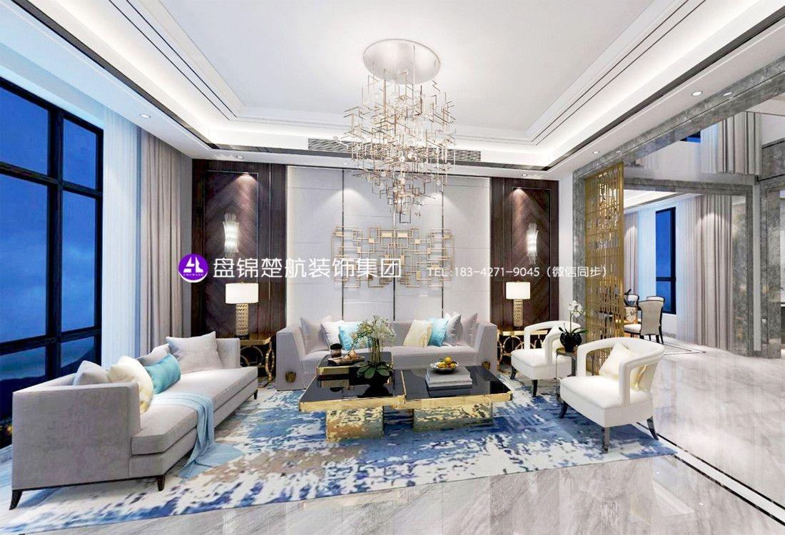 盘锦东方银座中心城别墅350平后现代轻奢装修效果图