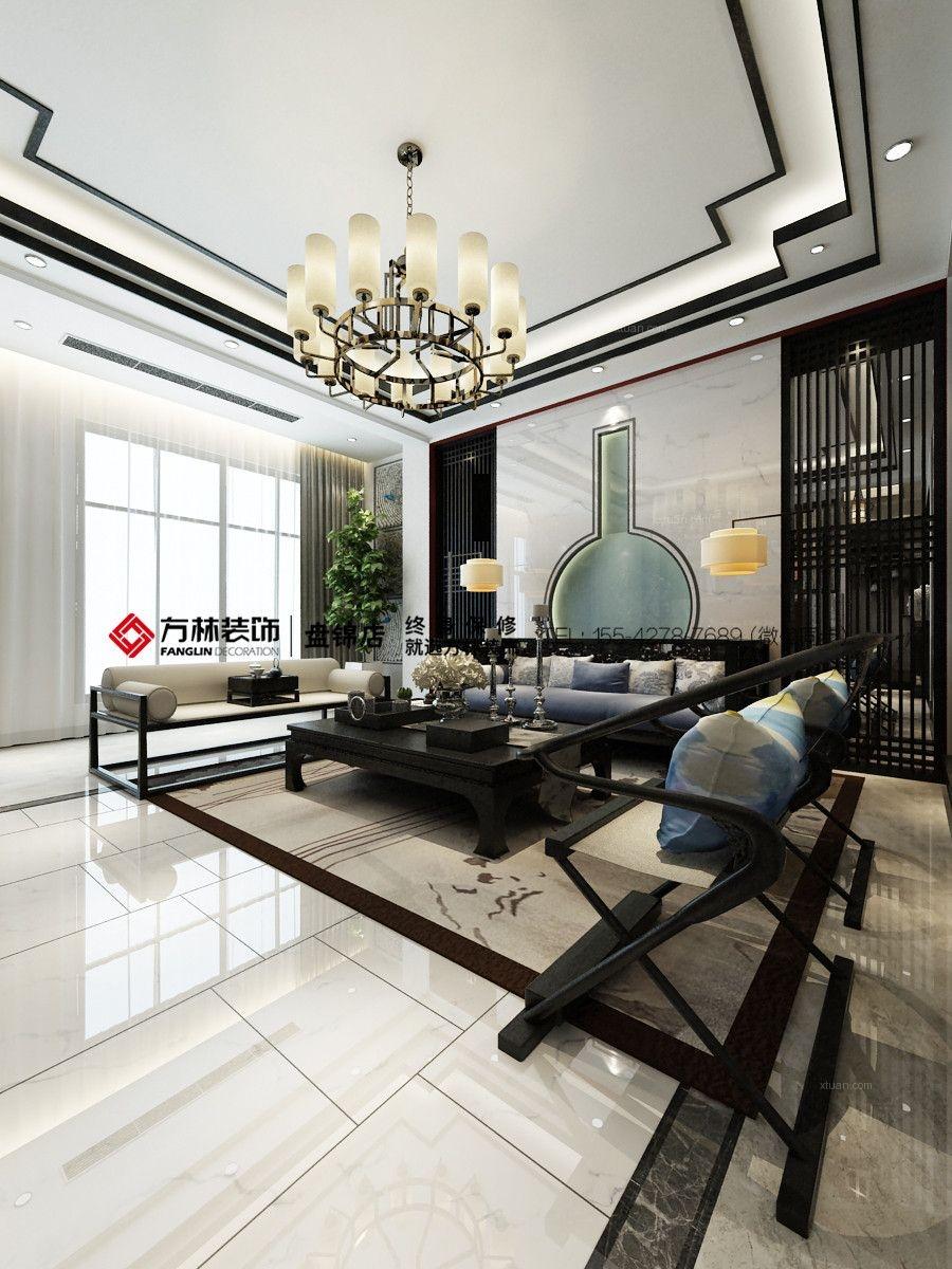 盘锦香水湖别墅320平新中式风格装修效果图