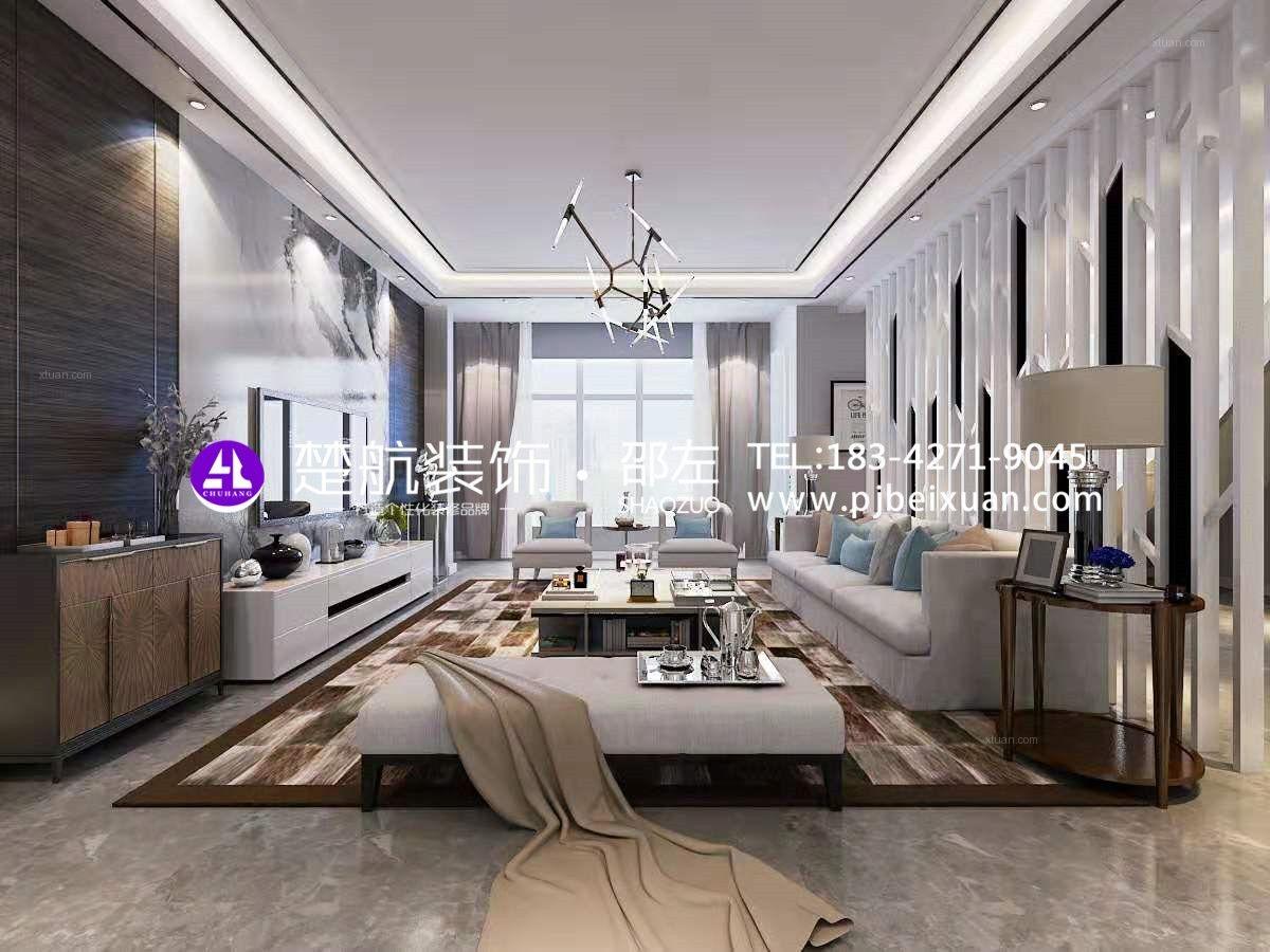 盘锦霞光府一号院138平顶楼现代轻奢装修效果图
