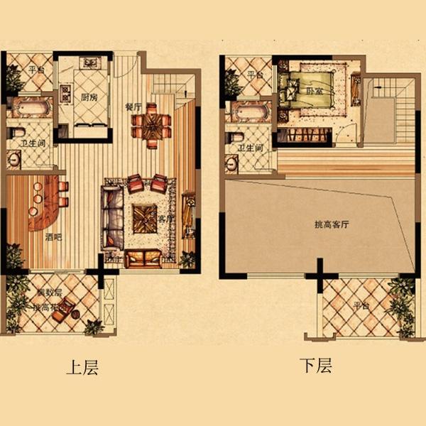 保利东湾_7/8号楼e2户型loft装修案例-x团杭州装修网