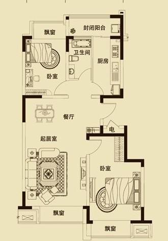 百合香湾90平现代
