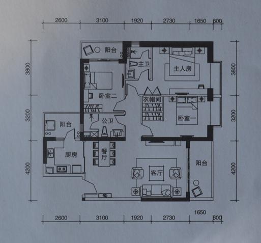 海伦国际_13号楼4座01/06户型图 3室2厅2卫3阳台装修