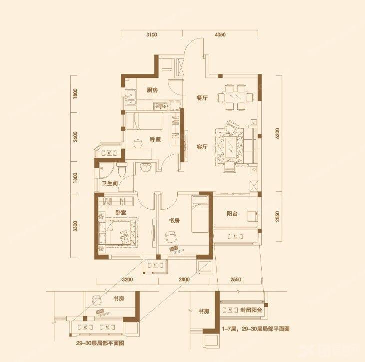 丽岛美生_c2户型 3室2厅1卫