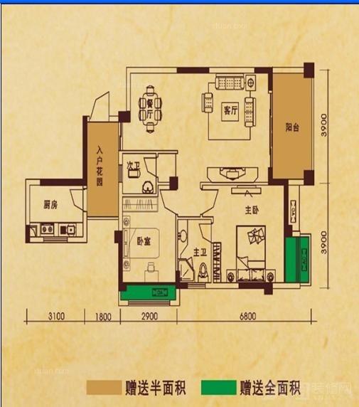 瑞丰公馆_瑞丰公馆户型图2室2厅2卫1厨 84.36㎡装修-x