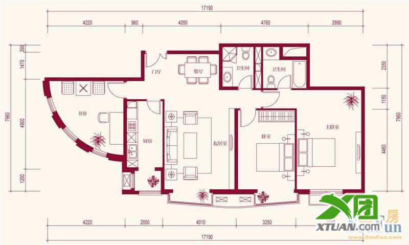 中海城圣朝菲_中海城圣朝菲户型图t1-3a正户型 3室2厅