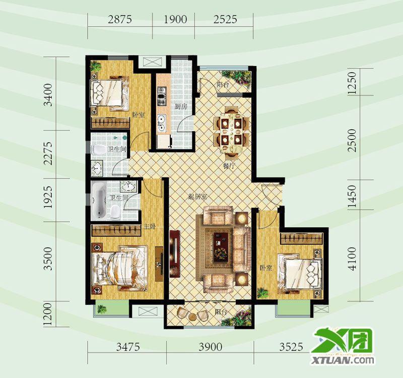 钢城水岸户型图l户型 3室2厅