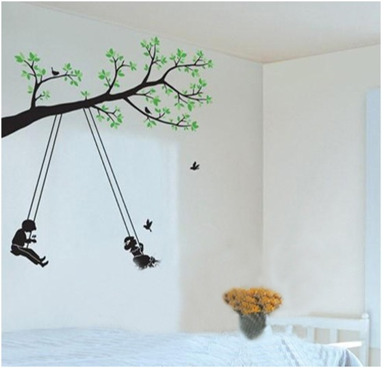 手绘卧室背景墙欣赏