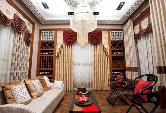 中式客厅窗帘效果图图片