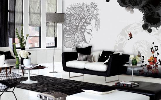 手绘沙发背景墙图片