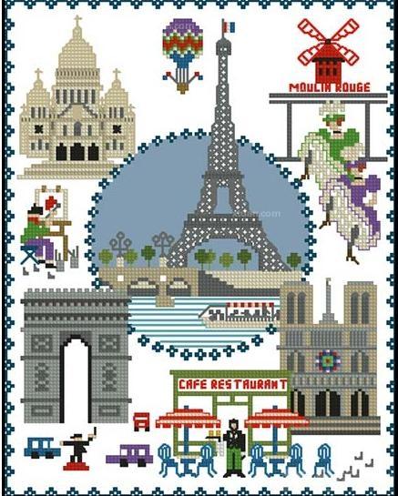 浪漫巴黎装饰画 6款铁塔风景装饰客厅装饰画四