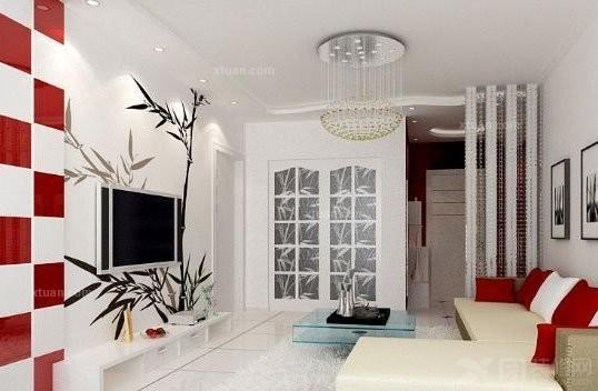 用木地板,木作,砖,墙纸等材料突出背景墙的特殊材质,再稍加造型.
