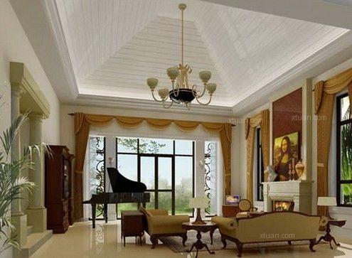 美式别墅客厅吊顶效果图