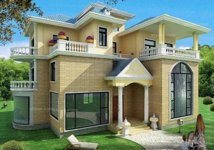 这一款欧式别墅外观的建筑本身采用了较为恬淡的色调来装饰设计