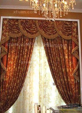 欧式风格装修客厅窗帘图片  :英式复古派图片