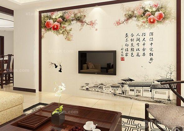 中式客厅装饰-电视背景墙装修效果图