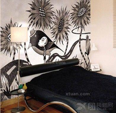 卧室手绘背景墙效果图  这款卧室的背景墙设计在颜色上也是以深色为主