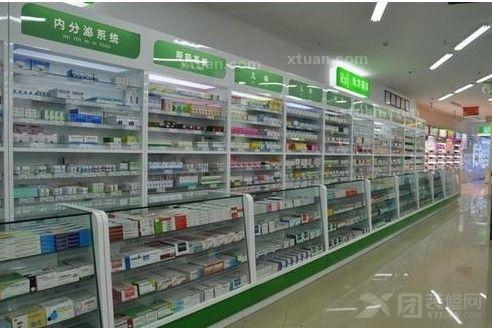 现代药房药店内部; 药店效果图; 药店货架标识牌