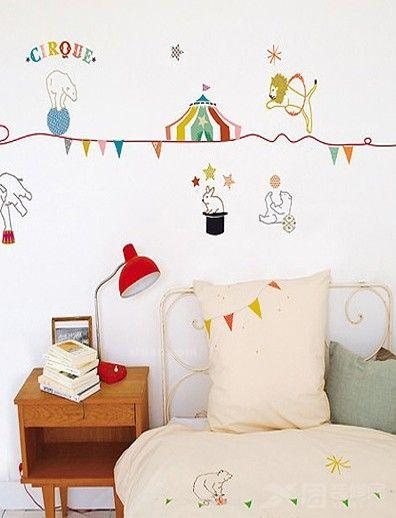 儿童房手绘背景墙装修-童趣满满简约风