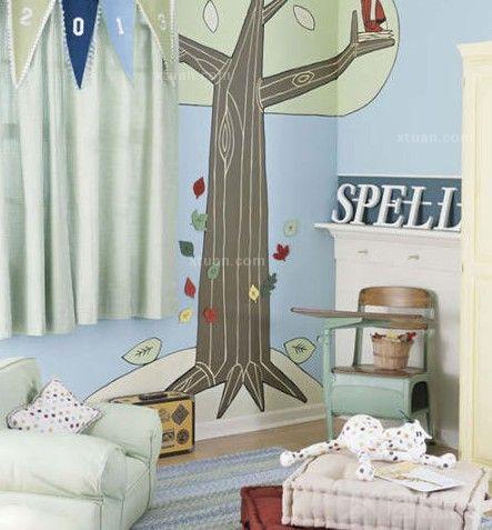儿童房背景墙设计-精彩梦幻童话世界