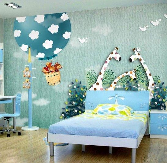 儿童房手绘背景墙效果图欣赏