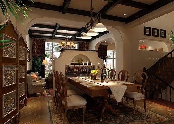 英式风格家居设计在看到其中的家具便可以辨别出来,英式的家具相比于美式及欧式家具给位板正,而且线条也会使用更多的直线,很少的使用弧线,而在整体的装饰上英式家居也更强调温馨及舒适感。下面是小编为你介绍的英式风格家装设计案例赏析,一起看看吧。  客厅的设计,抓人眼球的便是设计师用来区分客厅和餐厅空间的人工电视柜墙,电视柜恰好镶嵌其中,圆廊的造型非常的精致漂亮深色浅色的家具搭配,真皮的沙发既体现出主人的不凡品味同时也是非常的舒适抱枕也很漂亮,当然铁艺的吊灯当然少不了啦!