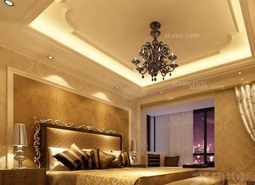 这间卧室的装修将简单的方形和圆形几何图案融入到吊顶和背景墙的