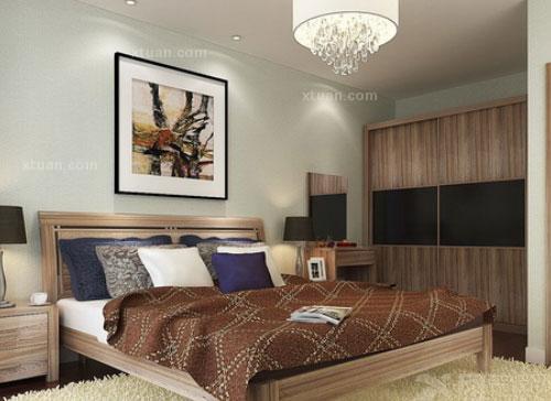 卧室顶面反光灯槽的设计在一定程度上营造出一种神秘浪漫的氛围.